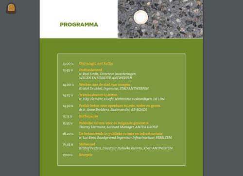 Programma bekend van Provinciale Contactdag Beton in Publieke Ruimte en Infrastructuur
