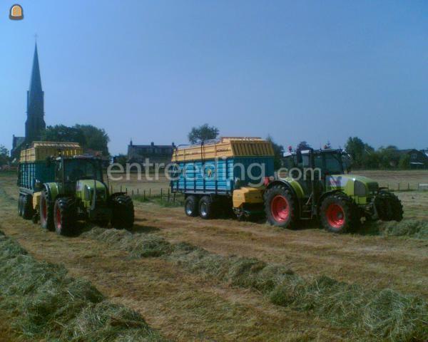 Tractor + opraapwagen Claas + Mengele