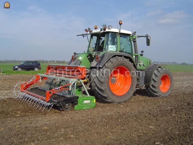 Tractor + rotorkopeg + zaaimachine Fendt + Terranova