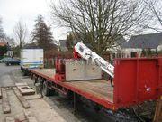 Bakwagen Scania 143 6x2 met stenen/platentrailer