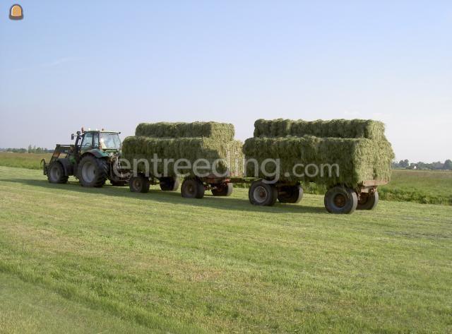 Tractor + plateauwagen Deutz Fahr