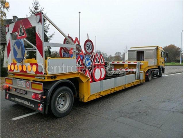 Dieplader / oprijwagen signalisatievrachtwagen MAN+dieplader