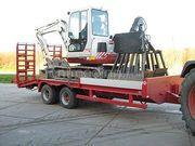 Tractor + plateauwagen fendt met oprij/transportwagen