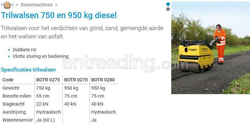 Bomag trilwals 750 kg diesel