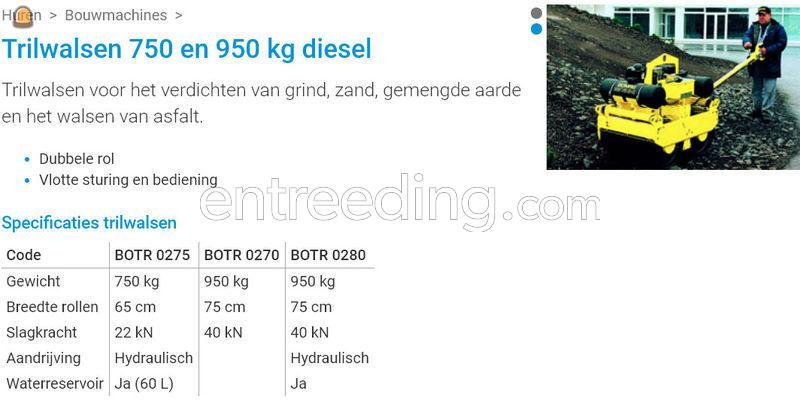 Bomag trilwals 950 kg diesel