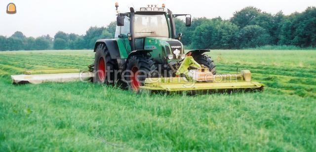 Tractor + schotelmaaier Fendt 716 + Claas maaicombinatie