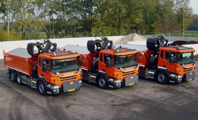 3 scania p 320 kraan kippers voor gemeente for Vrachtwagen kipper met kraan