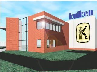 Kuiken's nieuwe bedrijfspand is herkenbaar aan dezelfde lijnen, materiaal- en kleurgebruik als van de bedrijven in Emmeloord, Almelo en Numansdorp.