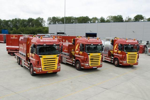 De drie nieuwe Scania R480 XPI Euro 5 motorwagens van Bredenoord