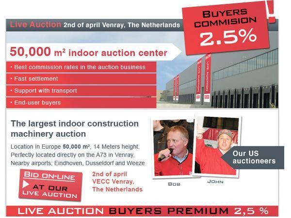 Bob Auctions organiseert zaterdag 2 april veiling van (wegen)bouwmachines