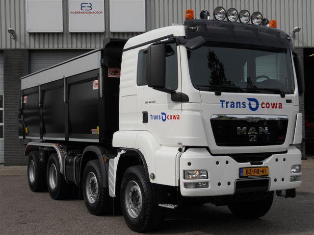 M.A.N. TGS 41.440 8X4 kippervrachtauto voor Transcowa uit Waardenburg