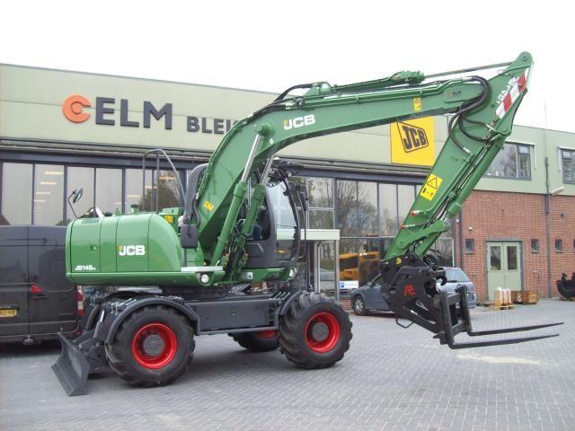 JCB JS145W mobiele graafmachine voor V.O.F. Van Tol uit Zevenhoven