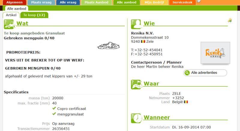 Screenprint uit onze applicatie: gebroken mengpuin aanbieden ...