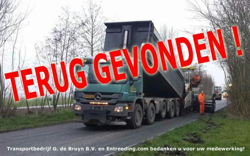 Vermiste MB Actros 10x4 kiepervachtauto van G. de Bruyn Ouderwater