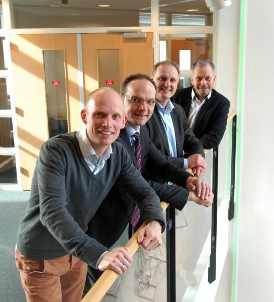 Team IAK Truckplan (v.l.n.r) Mickel de Jong (IAK), Allard Pit (MAX-Repair), Henk Reuvekamp (IAK) en Patrick Knappers (IAK)