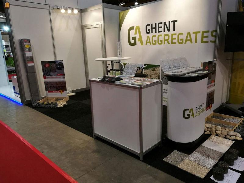 stand van Ghent Aggregates, siergranulaten en technische granulaten voor betontoepassingen