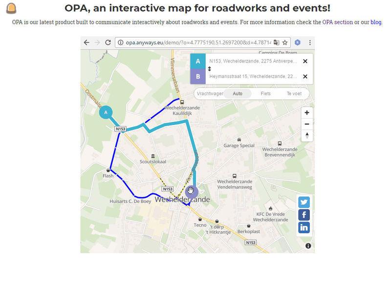 OPA interactieve kaart bij wegenwerken
